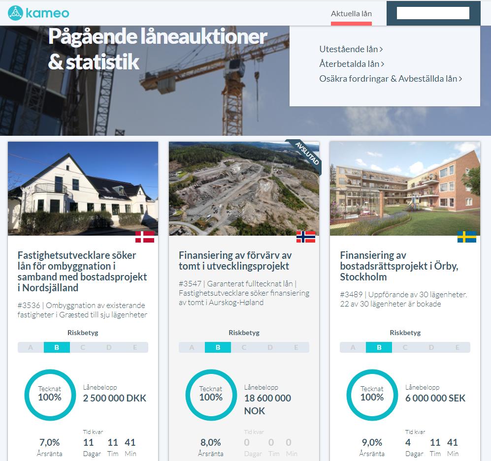 Kameo företagslån och finansiering av byggprojekt